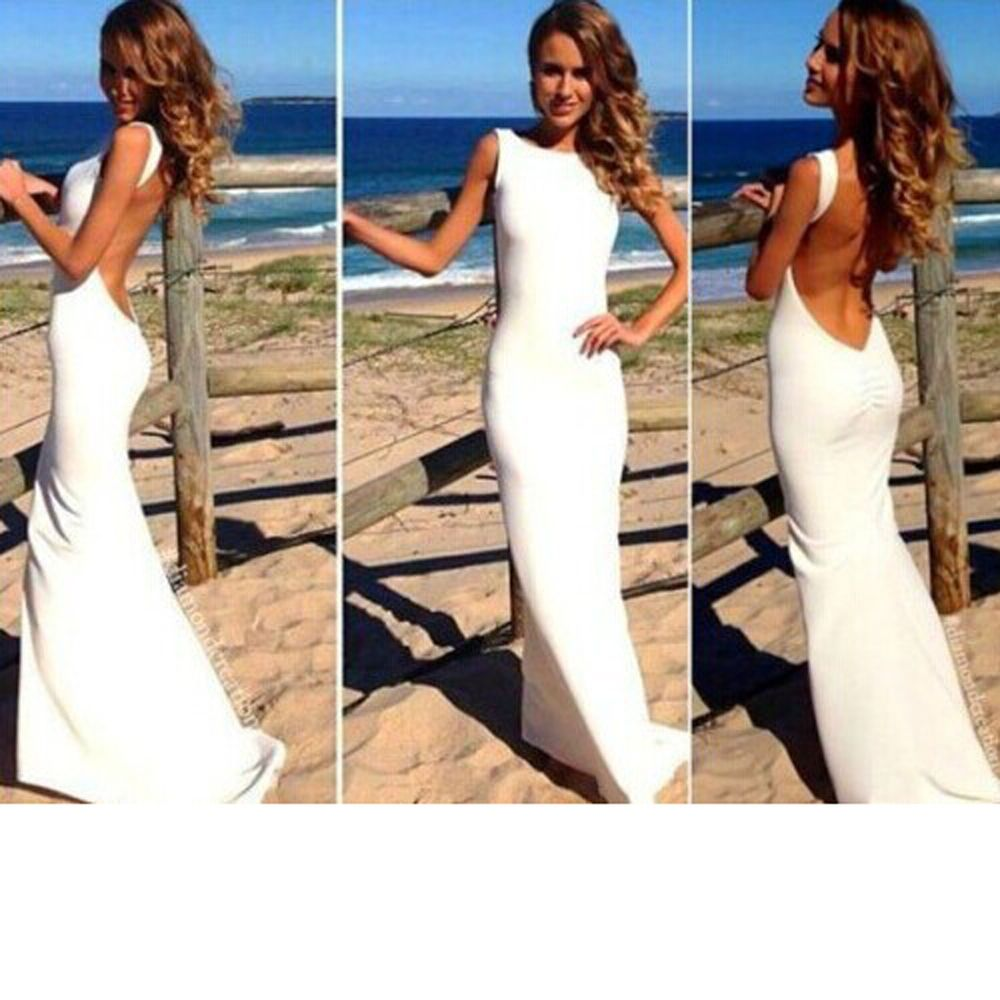 Women sleeveless fit sheath backless bodycon party cocktail full