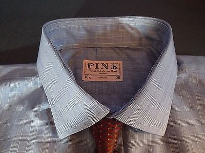 Thomas Pink London Jermyn Street Blue Checked Dress Shirt Sz 18.5-36 Sharp!