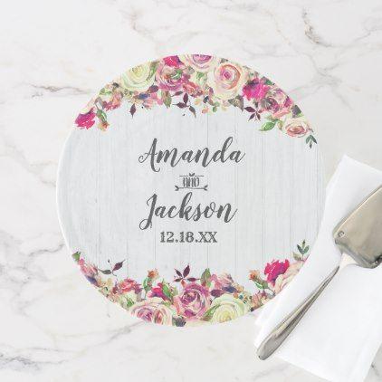 Blush Pink Green Rose Rustic Wedding Monogram Cake Stand Gifts Unique Custom Diy