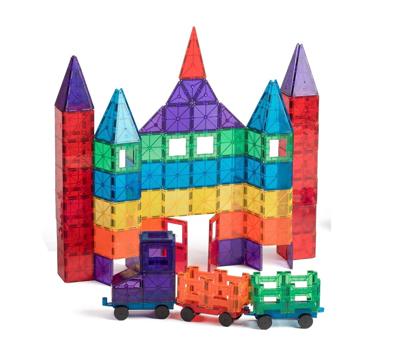 Amazon Com Playmags 100 Piece Clear Colors Magnetic Tiles Deluxe Building Set With Car Bonus Bag Toys Games Magnetic Toys Building Toys Toys