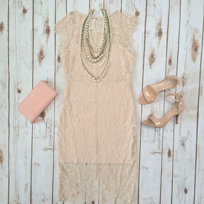Lace dress, pearlized crystal statement necklace, cedar street wallet, nude sandals  // Click the following link to see outfit details and photos:  http://www.stylishpetite.com/2015/03/instagram-lately-daily-outfits-outfit.html
