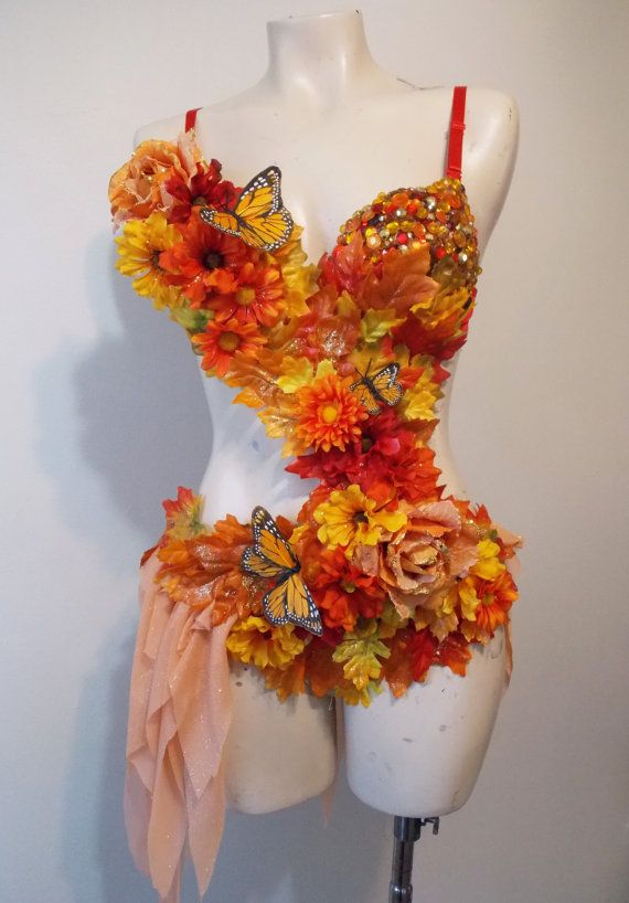 Autumn Fairy Rave Bra Custom Event Outfit Rhinestone Clusters Butterflies & Autumn Fairy- Fairy Costume Rhinestone Clusters Butterflies | Pole ...