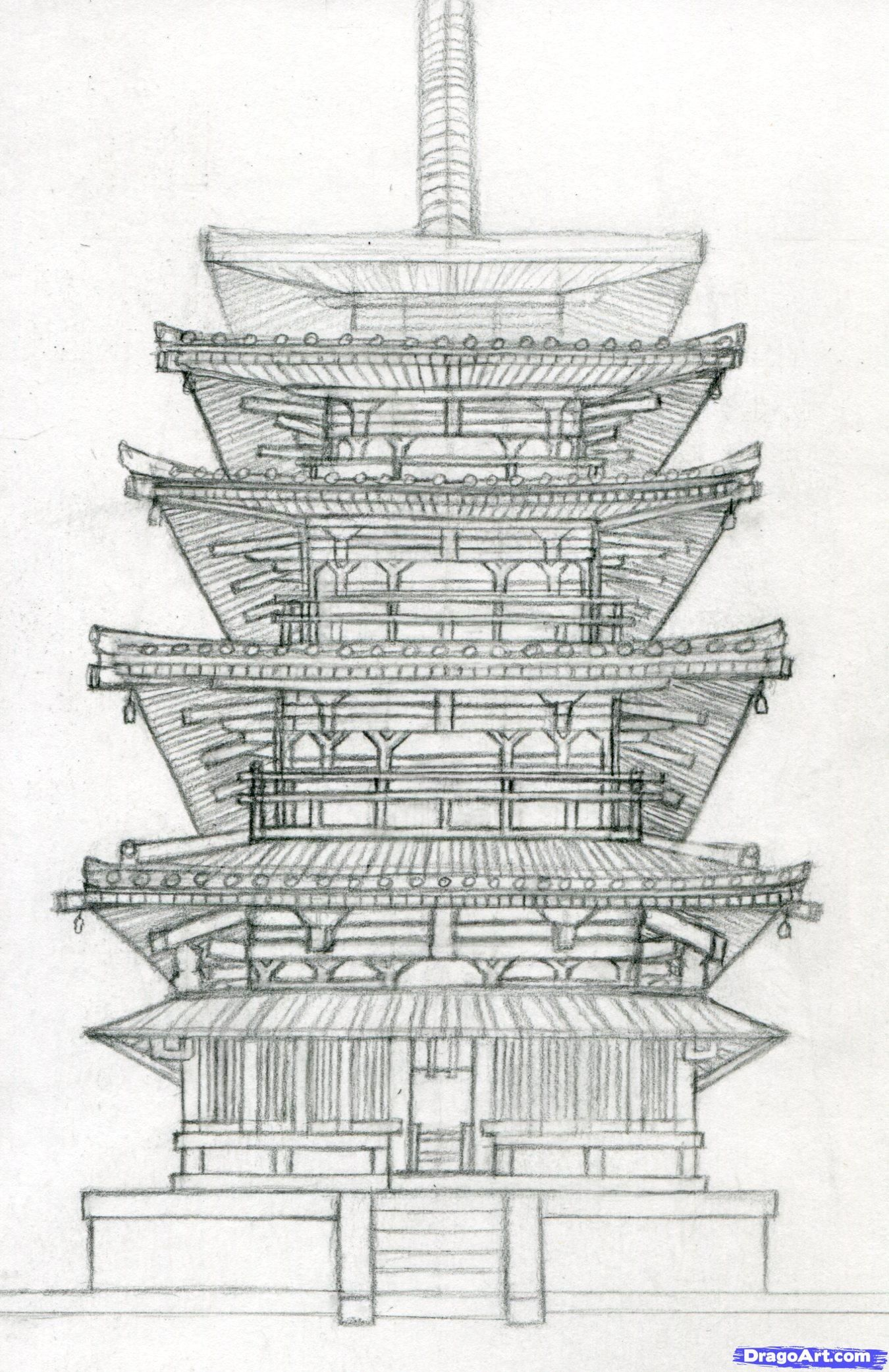 How To Draw A Pagoda Japanese Step 15