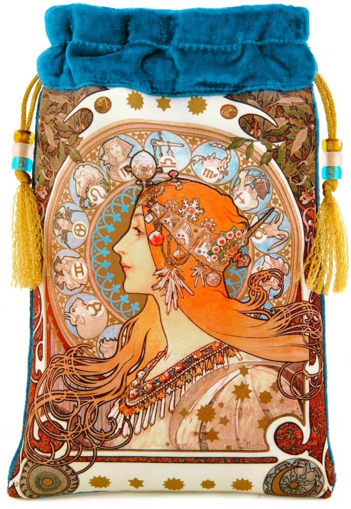 Tarot Bags Tarot Cards Cloths More: Zodiac By Alphons Mucha, Art Nouveau Drawstring Bag Or