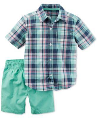 9166dec1 Carter's 2-Pc. Cotton Plaid Shirt & Shorts Set, Baby Boys (0-24 months)