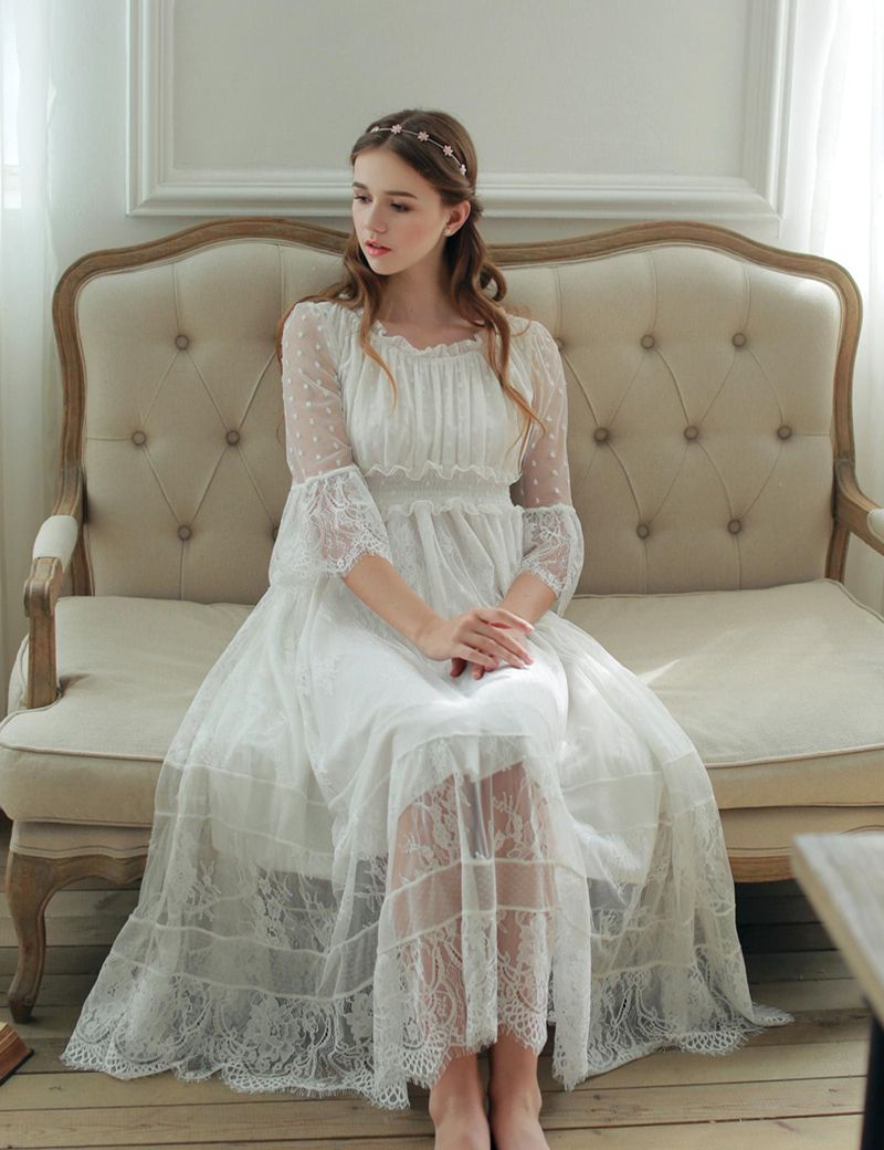 Women Sleepwear Gown Lace Nightgown Gorgeous Elegant Sleepwear Princess  Dress For Women Bridesmaid Lace Gowns High Quality 405382c88