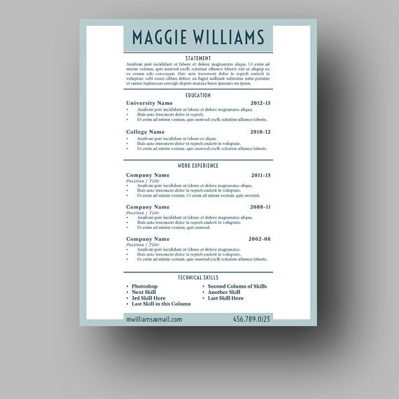 Resume Template Two Page Cover Letter Use with Microsoft - copywriter job description