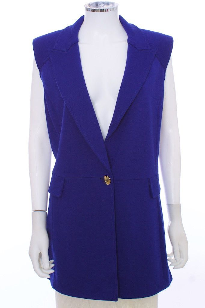ST. JOHN Royal Blue Wool Blend Sleeveless Cardigan Vest Size 12