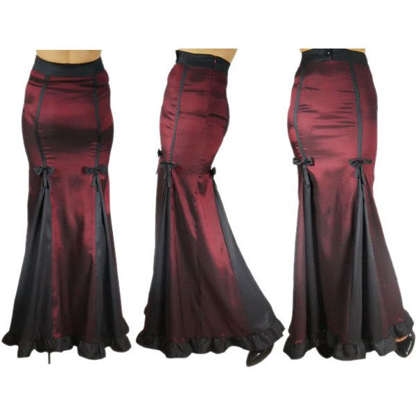 Glimmering Grace Skirt Gothic Victorian Long Skirt Bustles Ruffles ❤ liked on Polyvore