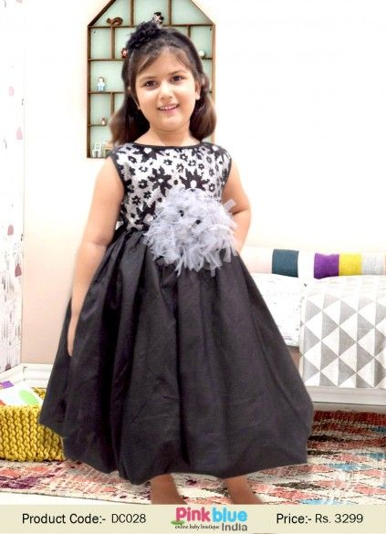 530c7ec957d8 Exclusive Kids Balloon Gown in Black   Silver Sequins for Birthdays ...