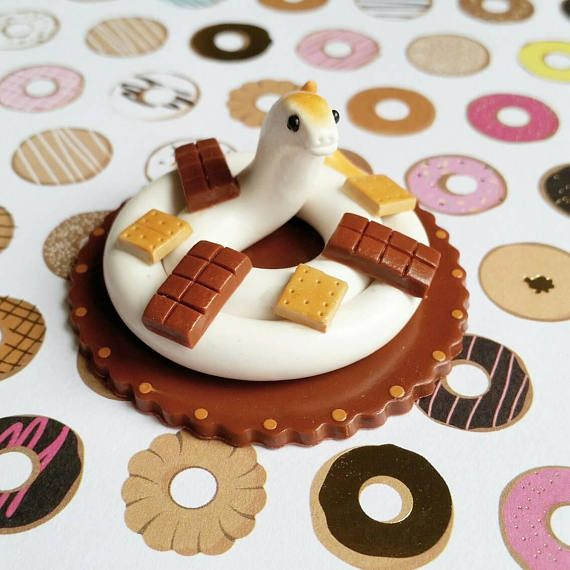 Smores Themed Snake. Handmade from Polymer Clay by The Clay Kiosk on Etsy.