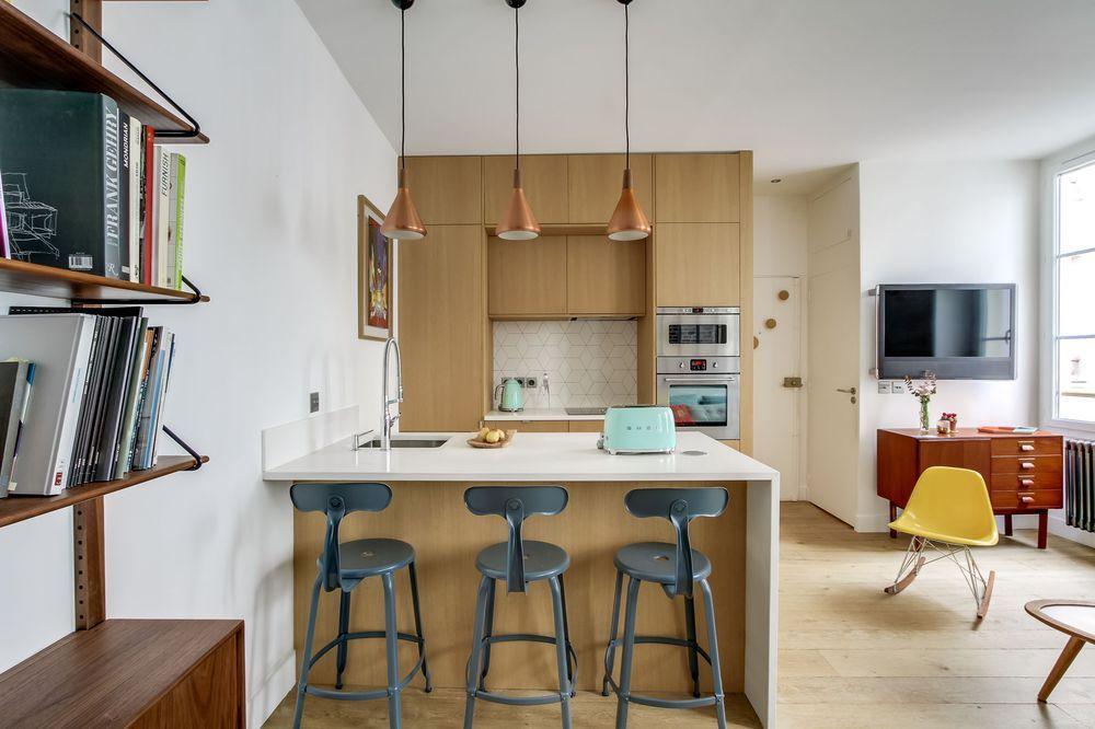 Cuisine industrielle  idées déco tendance loft - image cuisine ouverte sur salon