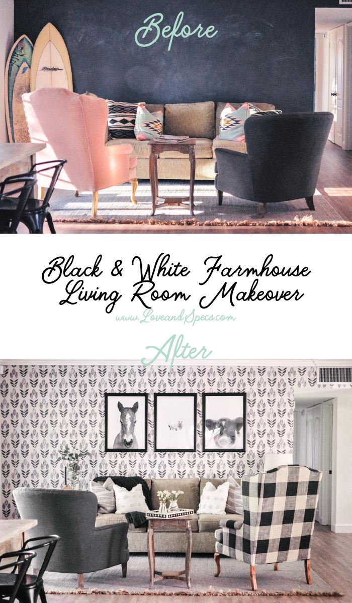 Nov 8 Our Farmhouse Living Room Makeover + Our Buffalo Check Chair ...