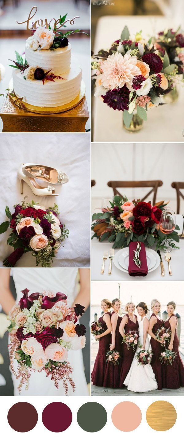 Burgundy or marsala is cool rich color that is perfect for fall and winter seasons, and It looks very lush and noble with gold accents  This contrasting combo i