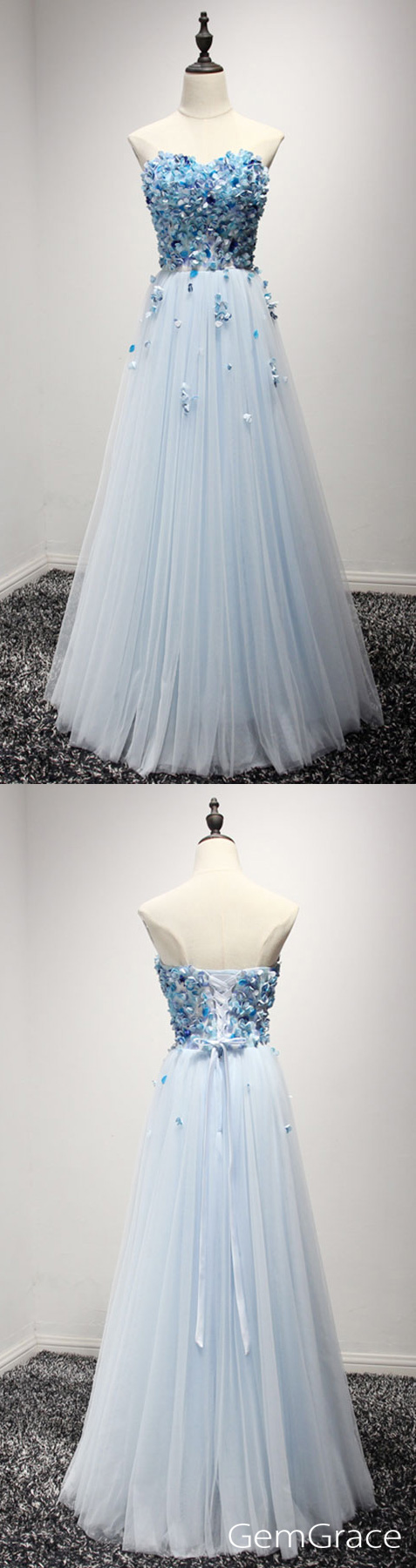 Blue Long Cheap Prom Dress Strapless A Line Poofy Tulle Style With ...
