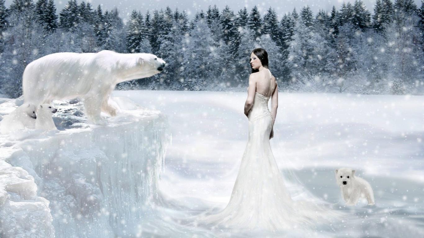 Desktop wallpaper women fantasy female warrior download this fantasy girl with polar bears widescreen wallpaper voltagebd Images