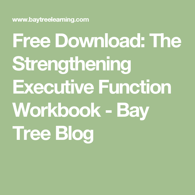 Strengthening Executive Function >> Free Download The Strengthening Executive Function Workbook Bay