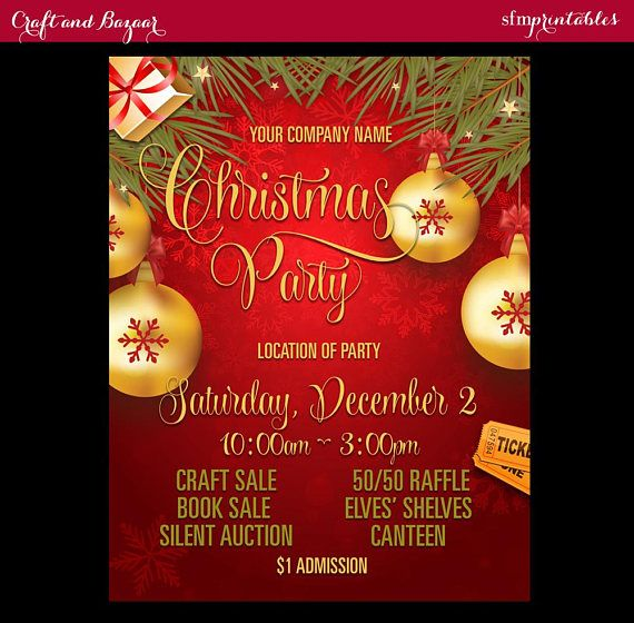 Christmas Party Raffle Ideas Part - 22: Christmas Party Flyer Company Corporate Holiday Celebration Seasonal /  Raffle Event Invitation Poster / Template Community