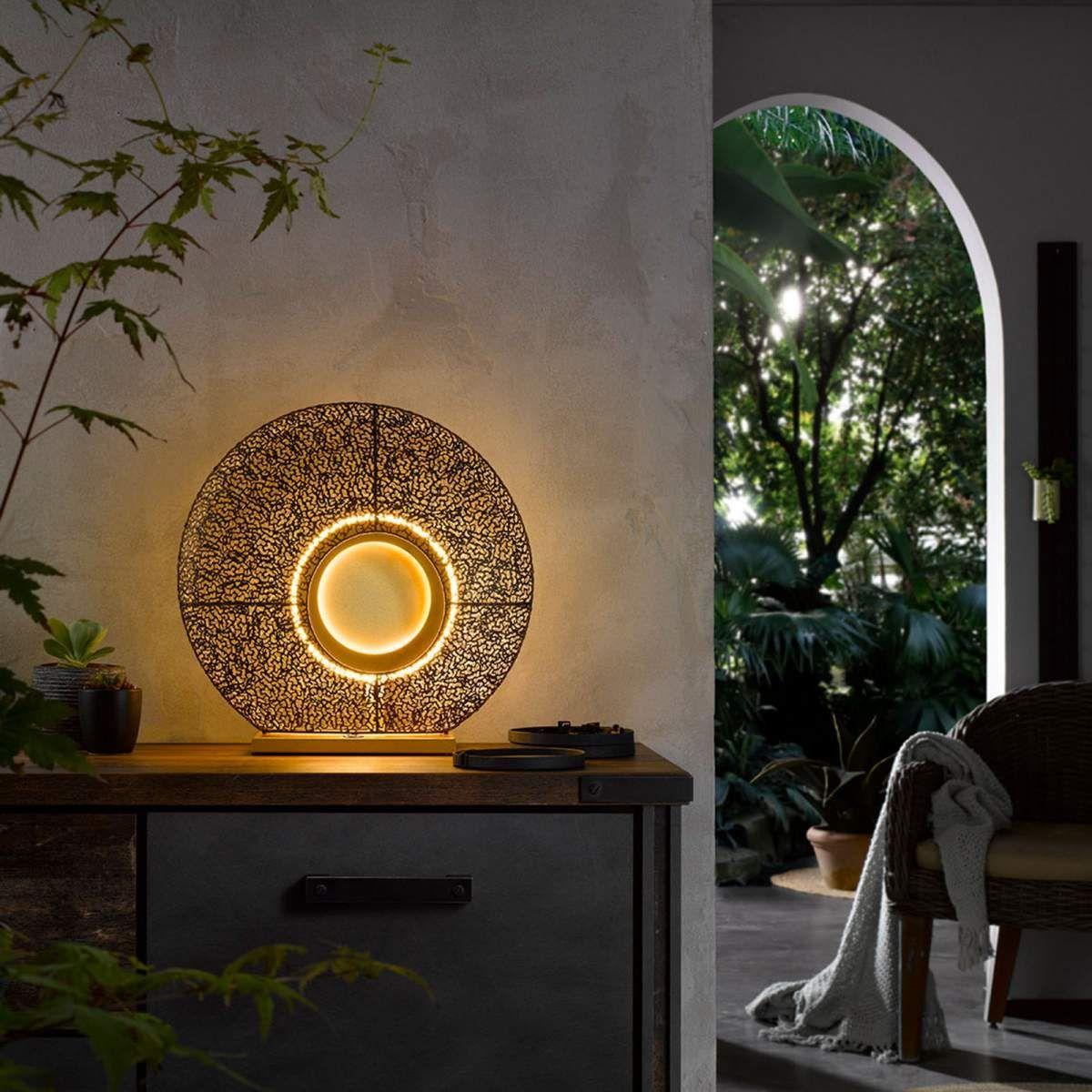 Led Tischleuchte Mina Mit Metallschirm In Rost Ledtischleuchte Metallschirm Mina Mit Rost In 2020 Led Table Lamp Lamp Table Lamp