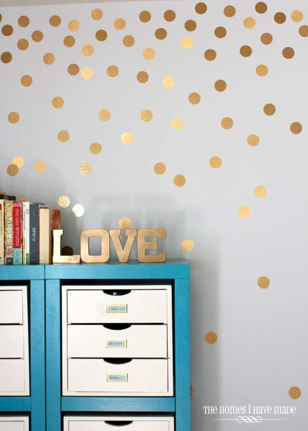 25 Cool No Money Decorating Projects That Will Beautify Your Decor Through Wall Art Polka Dot Walls Gold Polka Dots Wall Polka Dot Wall Decals