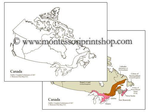 Map Of Canada Confederation.Canadian Confederation Of 1867 Maps Cc And Montessori Canadian