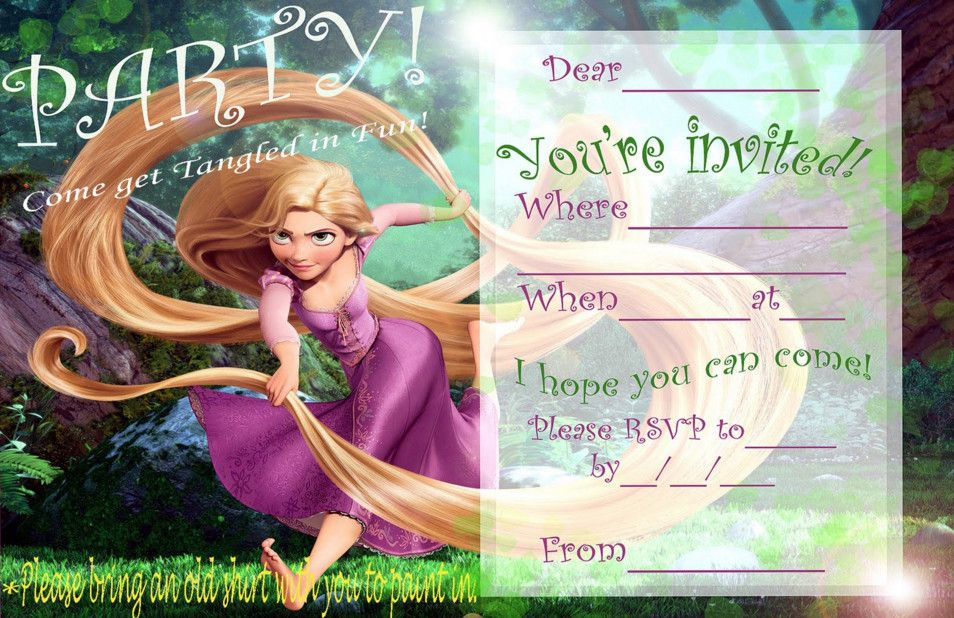 Free Printable Rapunzel Birthday Party Invitations