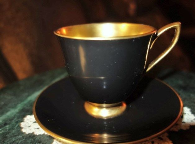 Vintage Royal Albert Bone China/ England Demitasse in Black w Golden Gilding #RoyalAlbert