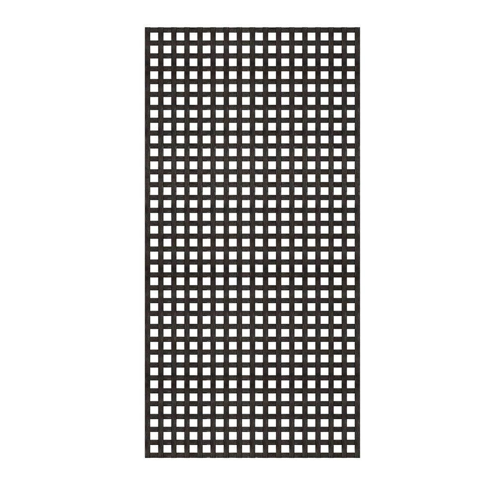4 Ft X 8 Ft Black Privacy Square Vinyl Lattice Framed 222602