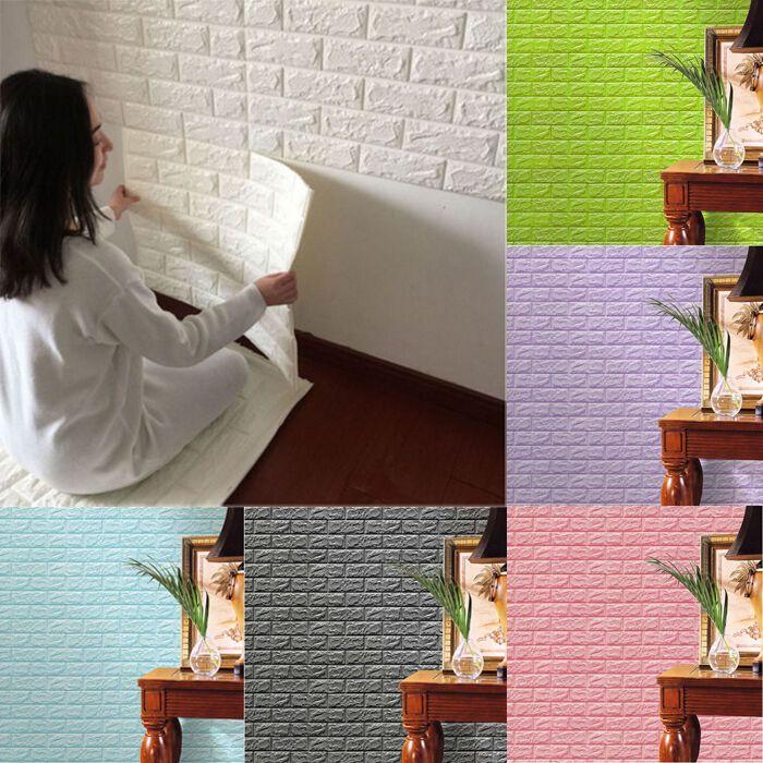 Simple 3D Foam Stone Brick Selfadhesive Wallpaper Home