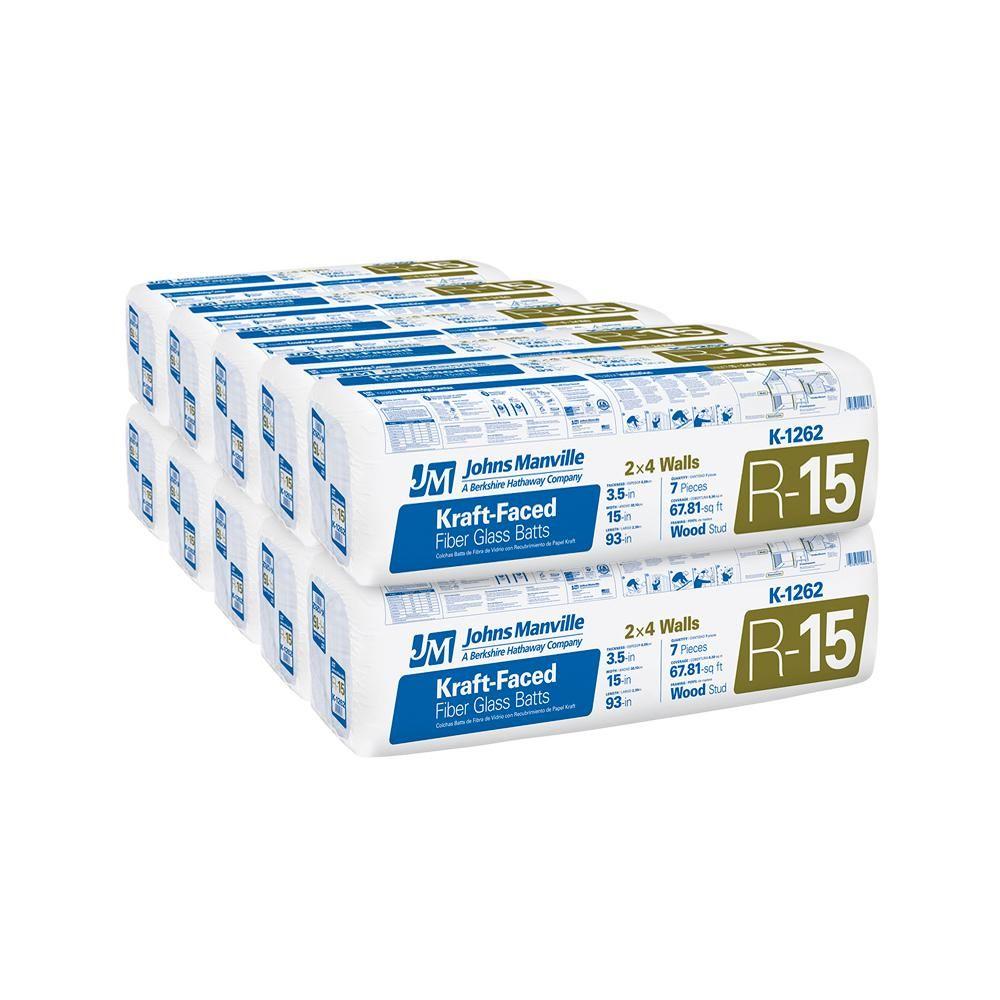 Johns Manville R 15 Kraft Faced Fiberglass Insulation Batt 15 In X 93 In 10 Bags Fiberglass Insulation Insulation R Value Types Of Insulation