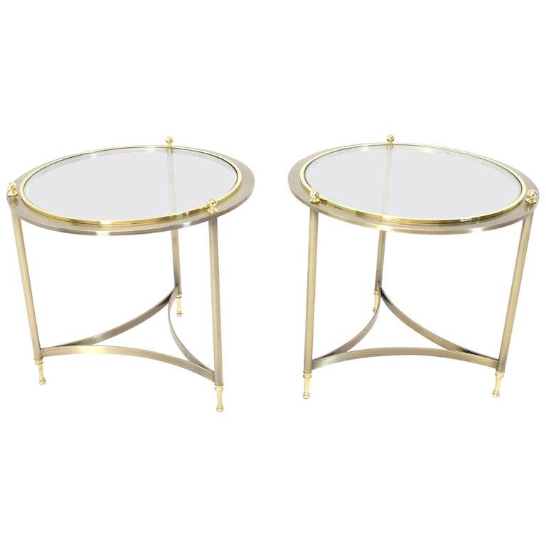 Pair Of Round Side End Tables With Glass Tops By Dia End Tables