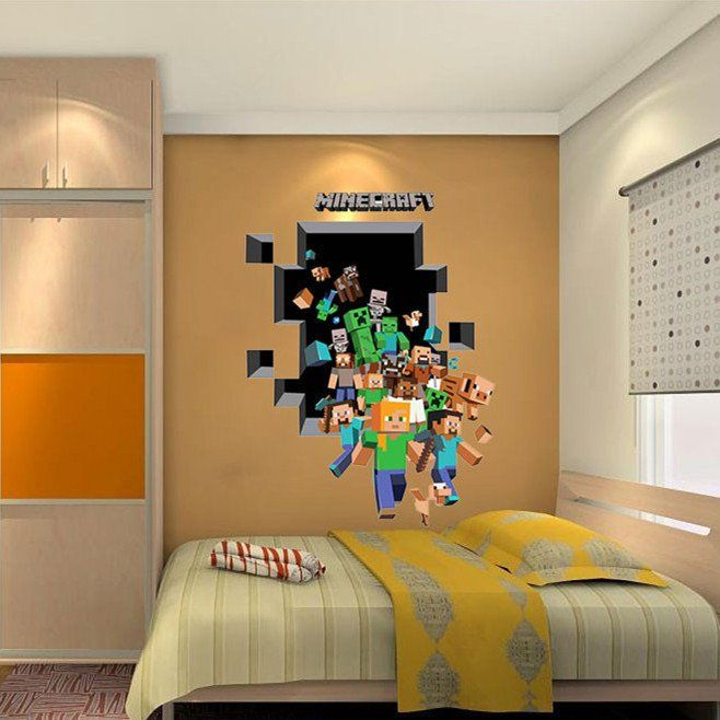 minecraft gaming wall decal awesome for any kids room or on wall stickers for kids id=73695