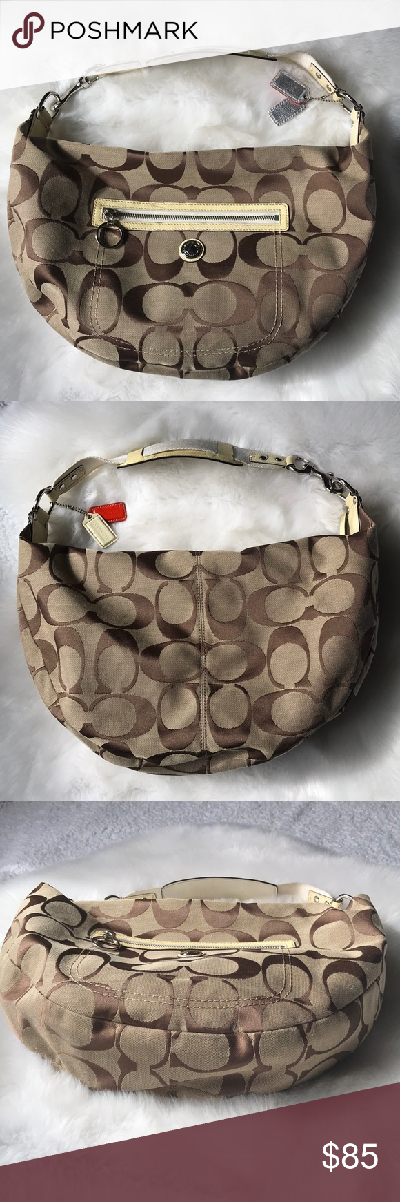 COACH Signature Blonde Coach Large Hobo Shoulder Preowned