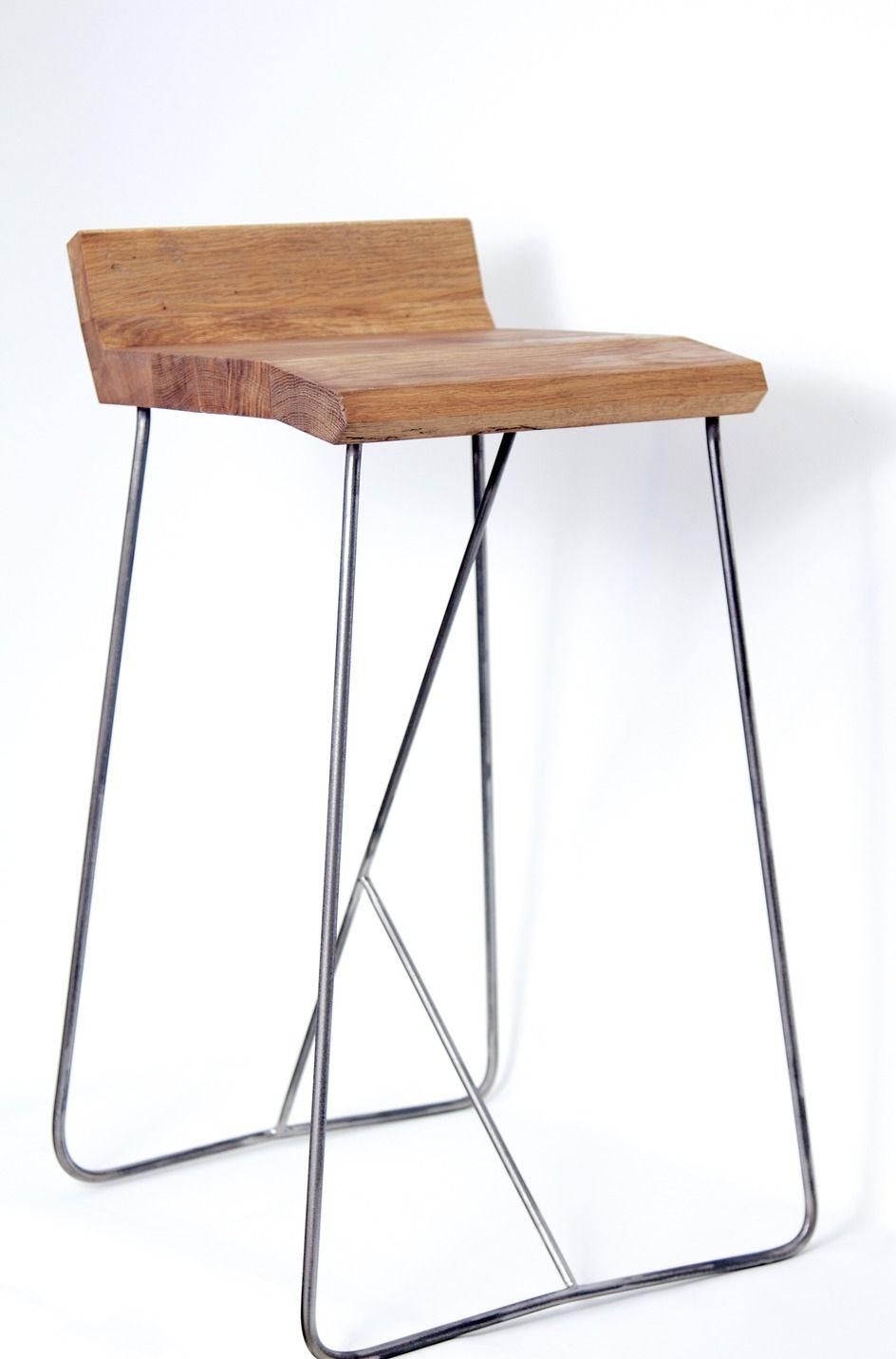 tabouret de bar eckig en m tal et bois meubles et. Black Bedroom Furniture Sets. Home Design Ideas