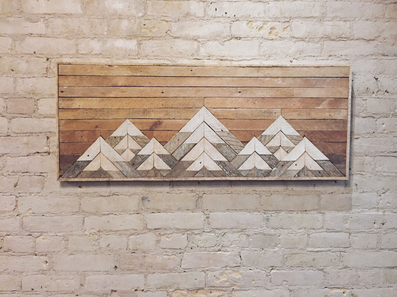 Reclaimed wood wall art wall decor twin headboard lath geometric mountains
