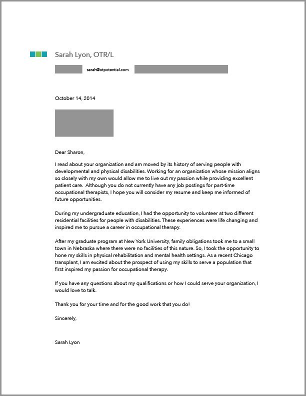 OtCoverLetter  Ot Things    Occupational Therapy