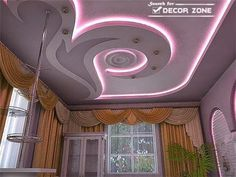 pop false ceiling designs with purple lighting system - Pop Design Photo