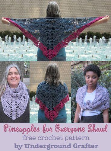 Piñas para Todos Chal, patrón de crochet libre por metro Crafter ...