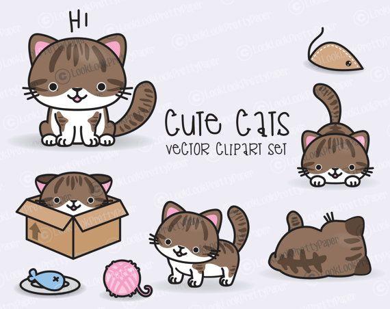 Premium Vector Clipart Kawaii Cats Cute Cats Clipart Set Brown Cat High Quality Vectors Instant Download Kawaii Clipart Kawaii Clipart Cat Clipart Kawaii Cat