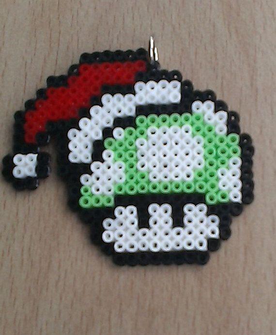 Super Mario 1UP Mushroom Christmas Tree decorations by PixelBeadPictures