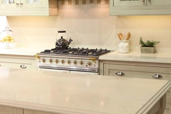 caesarstone quartz dreamy marfil island thicker than other rh pinterest com