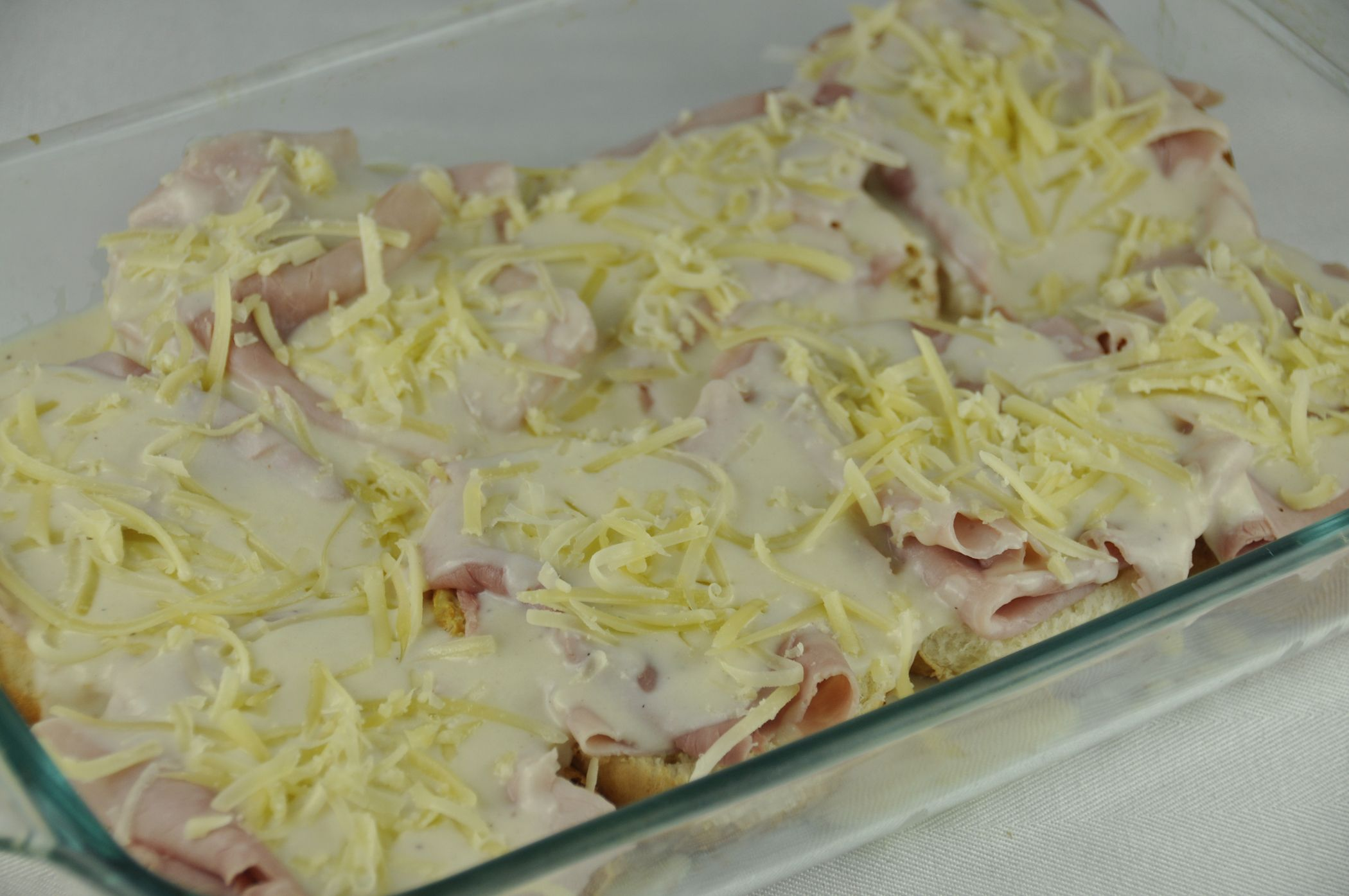Open Faced Croque Monsieurs (upscale hot ham and cheese sandwiches) :)