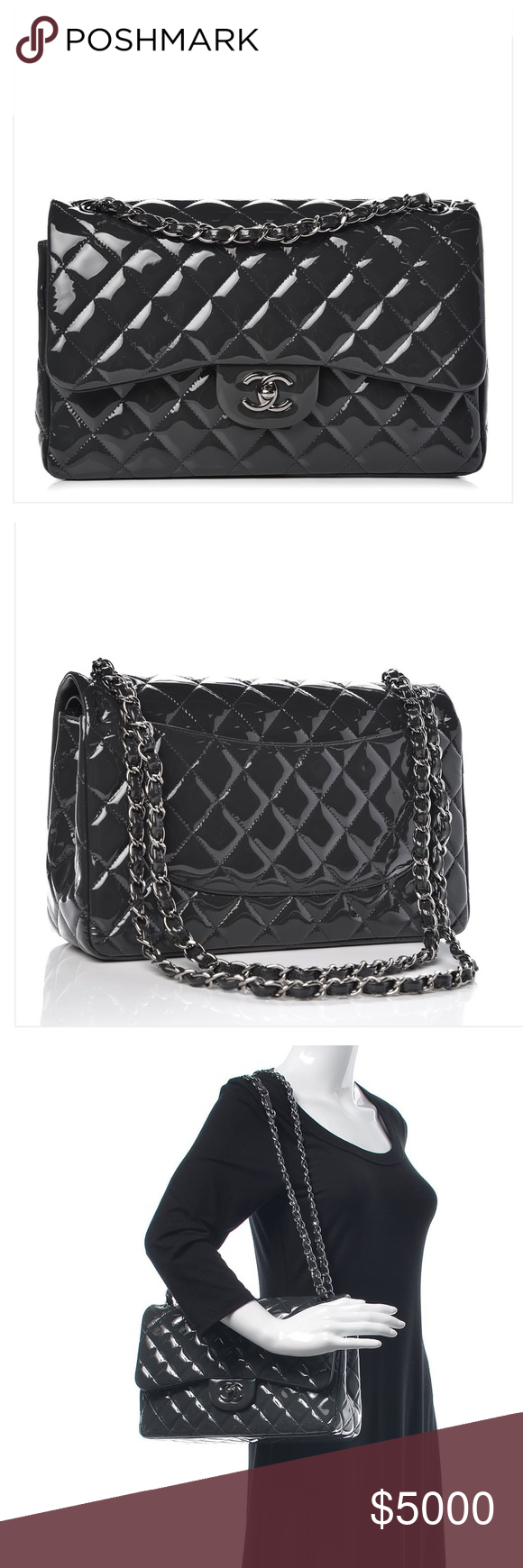 c54178e1782470 CHANEL Quilted Patent Leather Jumbo Flap Bag CHANEL Quilted Patent Leather  Jumbo Flap Bag. Authentic