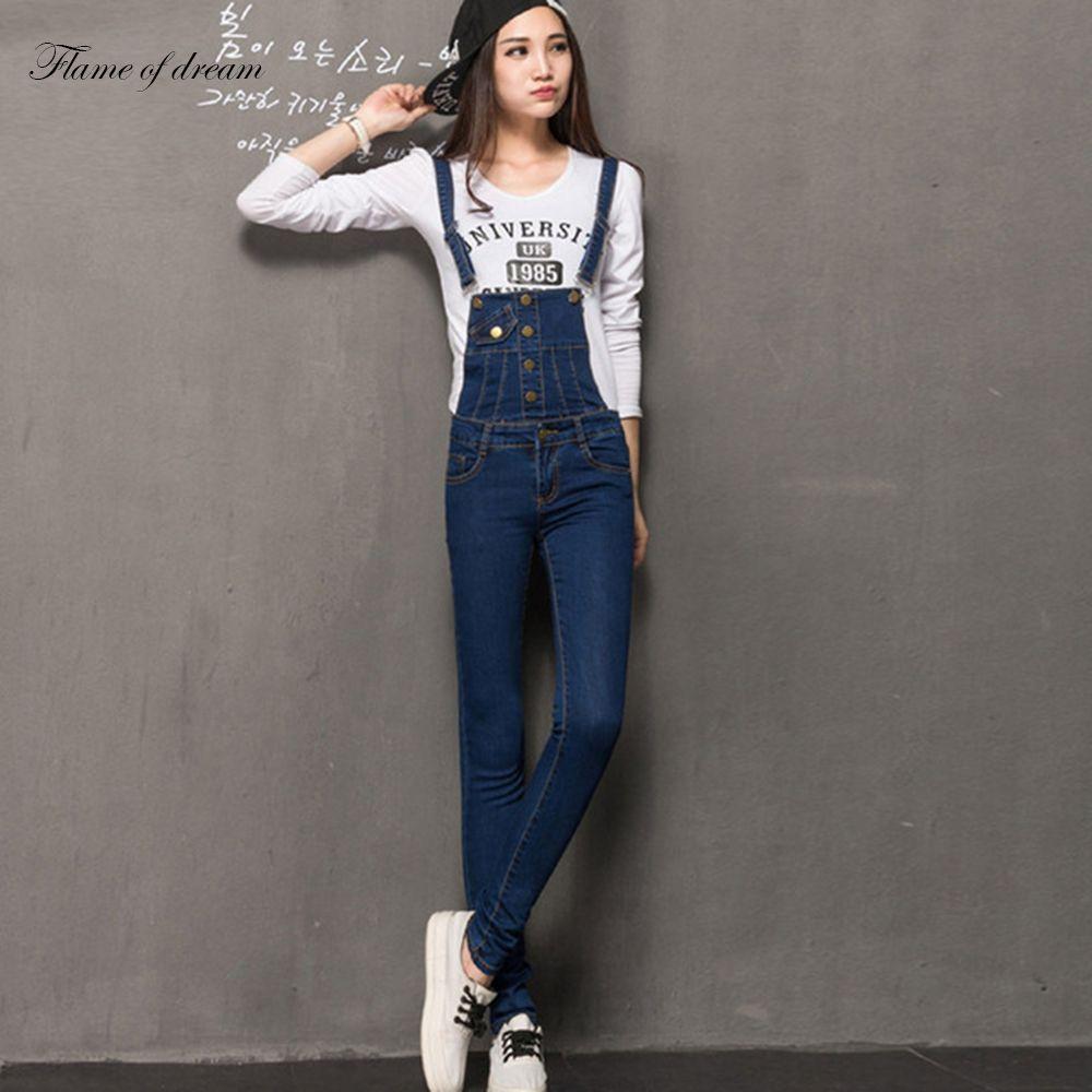 plus size pants the spring new jeans pants suspenders ladies denim