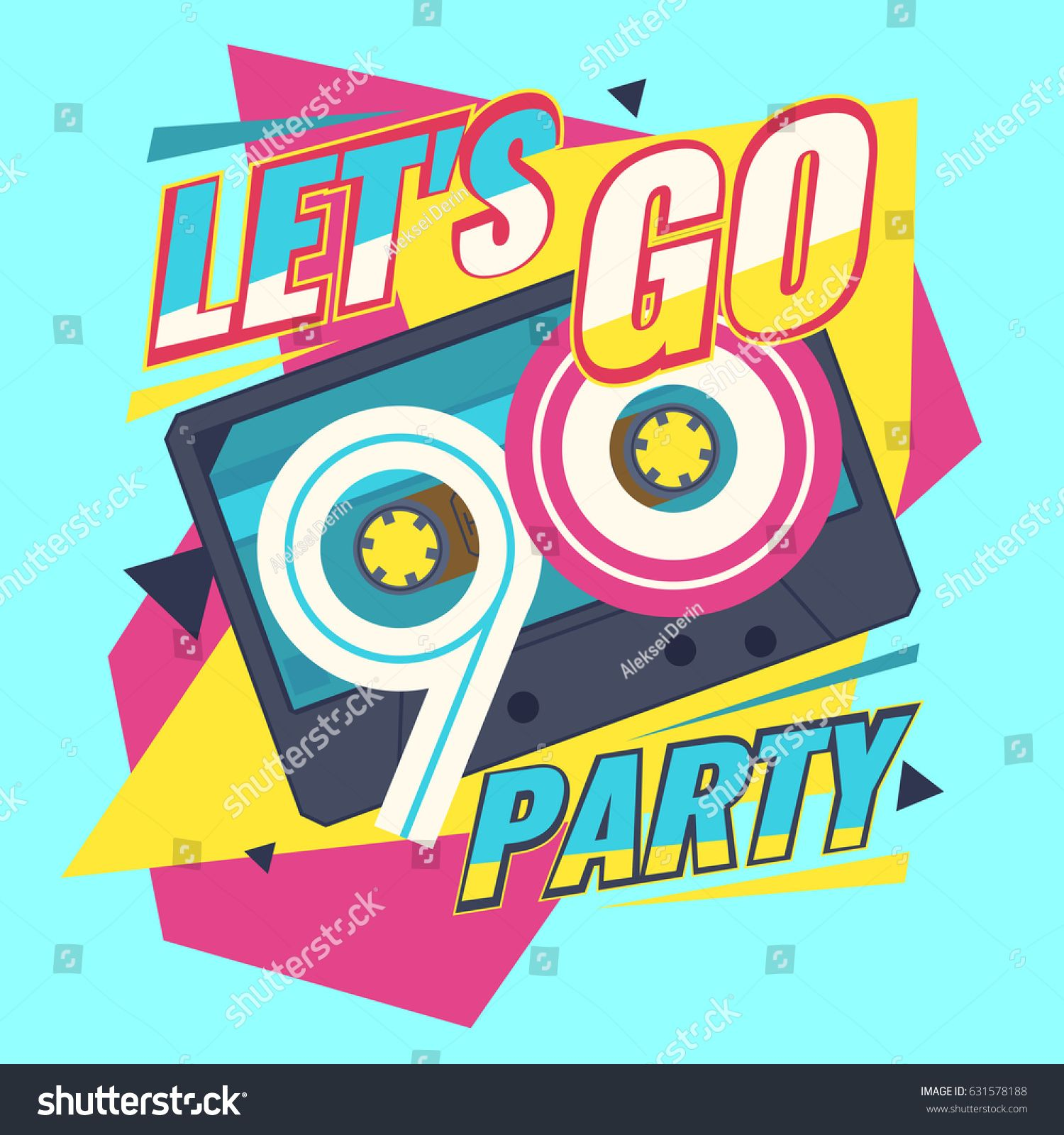 121497cd454f Audio cassette on red background. Let s go retro party 90 s. Vector  illustration.