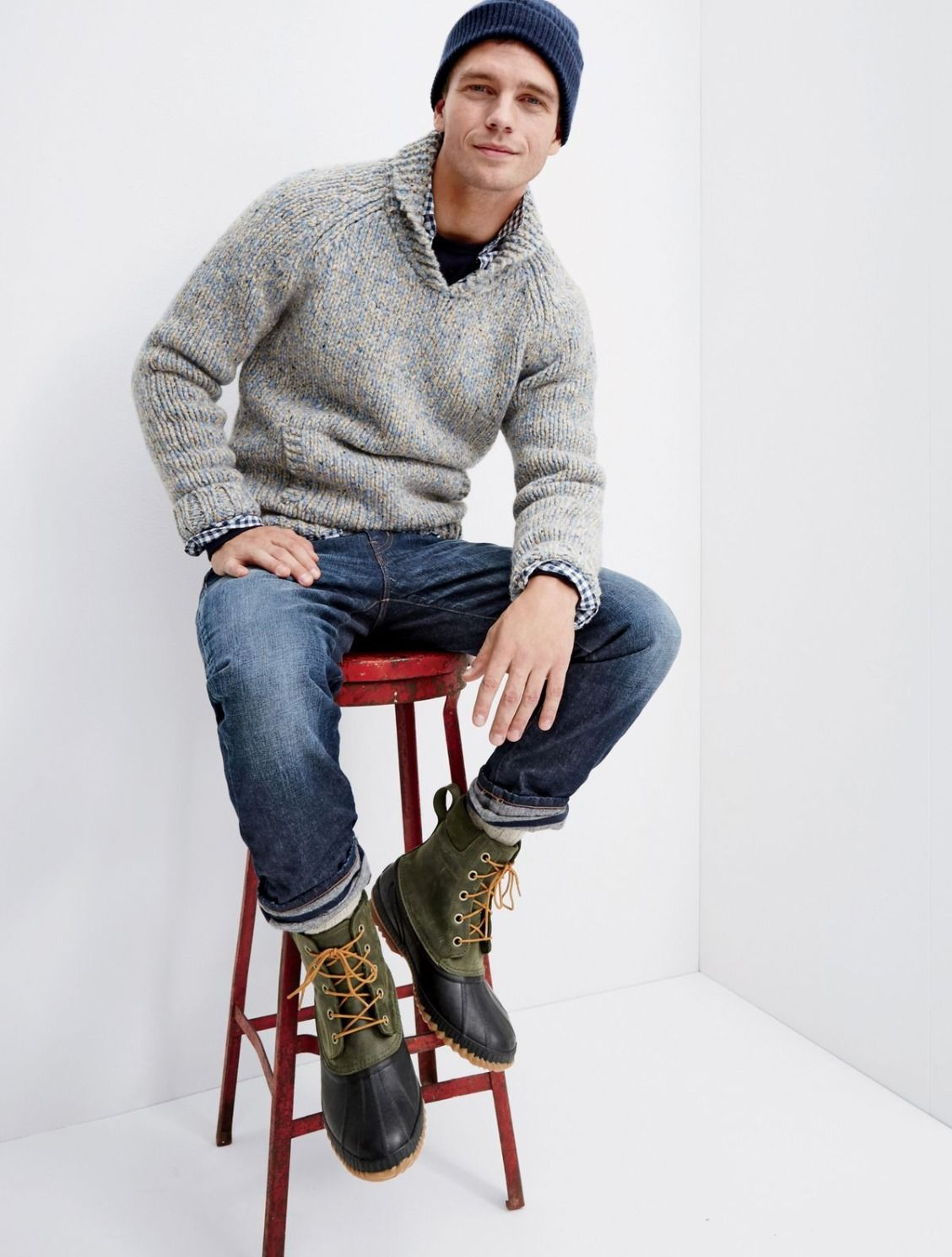 J.Crew men's shawl collar sweater, 770 denim cabin pants in Schaeffer wash and Sorel® for J.Crew Cheyanne boots.