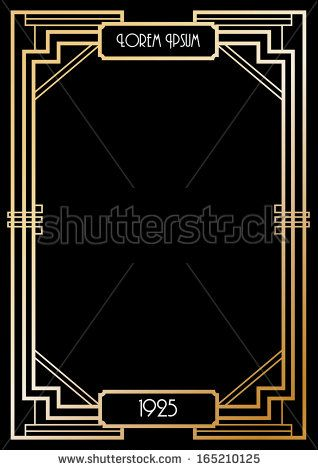 Art Deco Border Template Vectorillustration Invitations In 2019