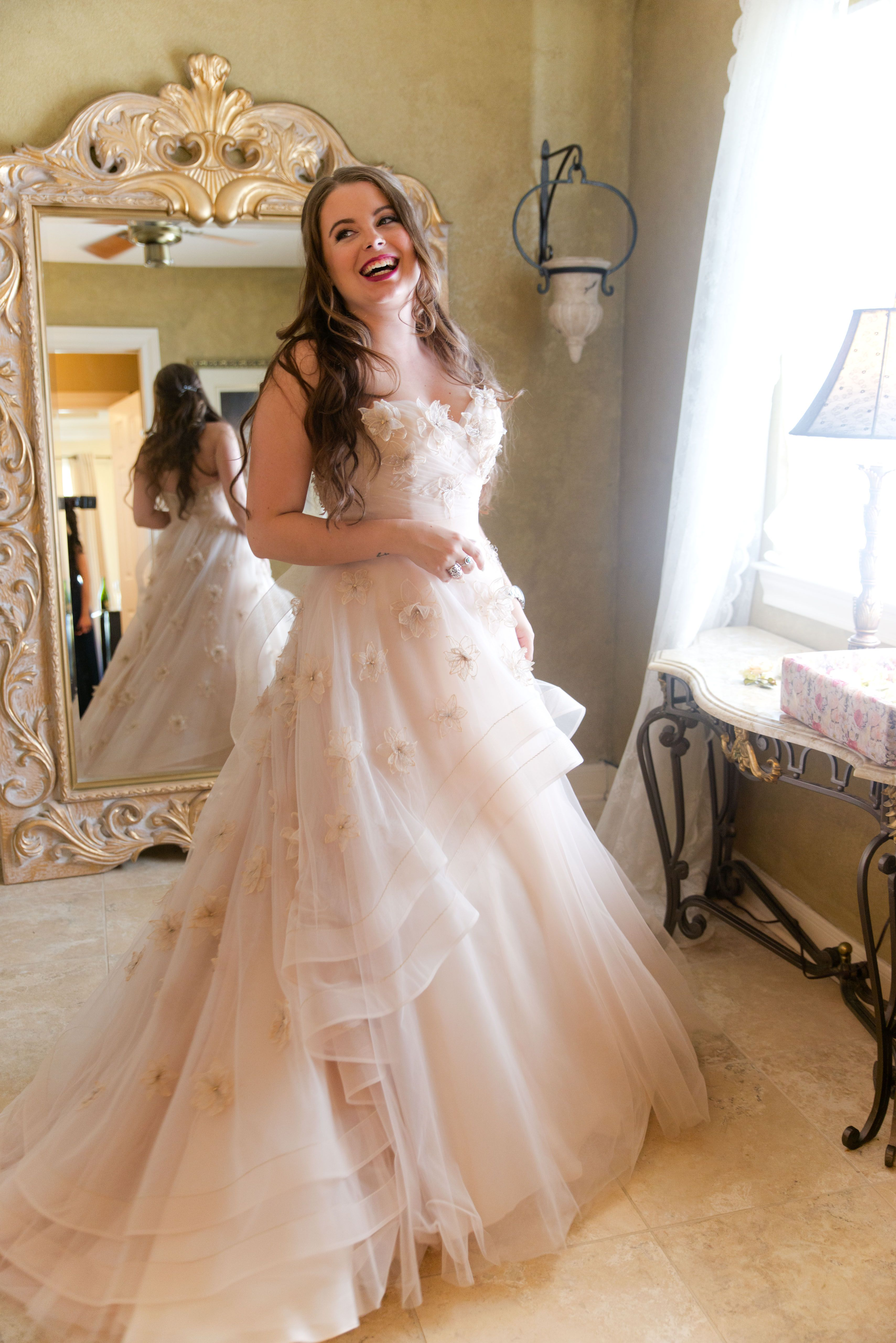 Watters Wtoo Blush Wedding Dress With Floral Appliques Wtoo