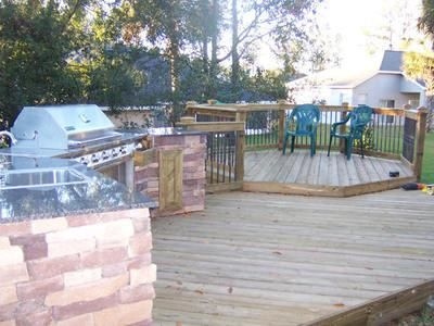 Beautiful Tiered Deck With Outdoor Kitchen Multi Level Deck Outdoor Kitchen Design Deck