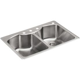 Kohler Octave 18 Gauge Double Basin Drop In Stainless Steel Kitchen Sink This